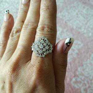 Nadri snowflake ring in silver